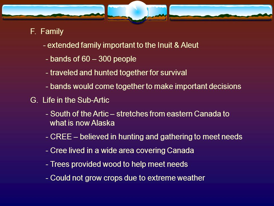 SUMMARY  Peoples of the Northwest Coast took advantage of the region's rich natural resources  Peoples of the Arctic and sub-Arctic thrived in a region of fewer resources
