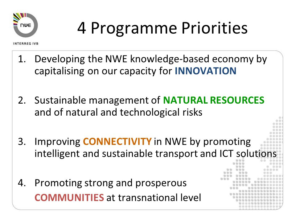 4 Programme Priorities 1.Developing the NWE knowledge-based economy by capitalising on our capacity for INNOVATION 2.Sustainable management of NATURAL RESOURCES and of natural and technological risks 3.Improving CONNECTIVITY in NWE by promoting intelligent and sustainable transport and ICT solutions 4.Promoting strong and prosperous COMMUNITIES at transnational level