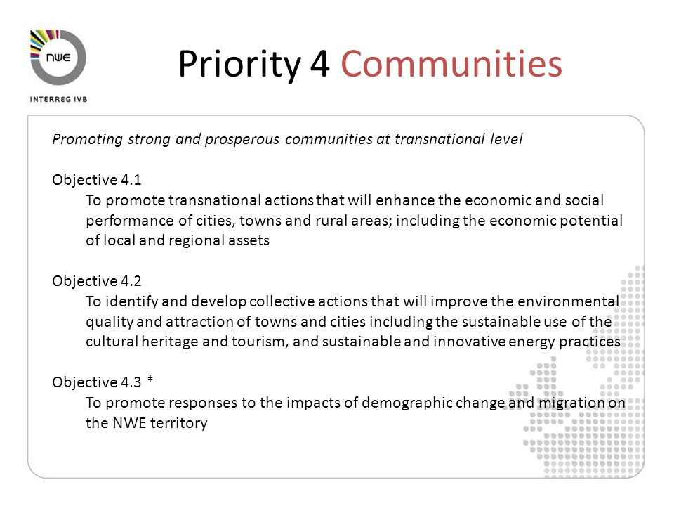 Promoting strong and prosperous communities at transnational level Objective 4.1 To promote transnational actions that will enhance the economic and social performance of cities, towns and rural areas; including the economic potential of local and regional assets Objective 4.2 To identify and develop collective actions that will improve the environmental quality and attraction of towns and cities including the sustainable use of the cultural heritage and tourism, and sustainable and innovative energy practices Objective 4.3 * To promote responses to the impacts of demographic change and migration on the NWE territory Priority 4 Communities