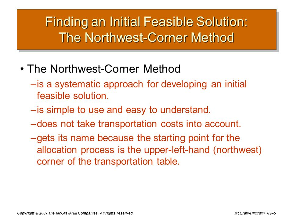 Copyright © 2007 The McGraw-Hill Companies. All rights reserved. McGraw-Hill/Irwin 6S–5 Finding an Initial Feasible Solution: The Northwest-Corner Met