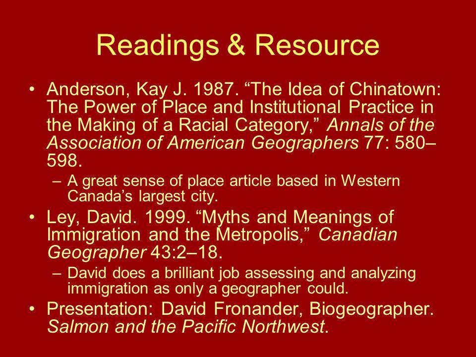 Readings & Resource Anderson, Kay J. 1987.