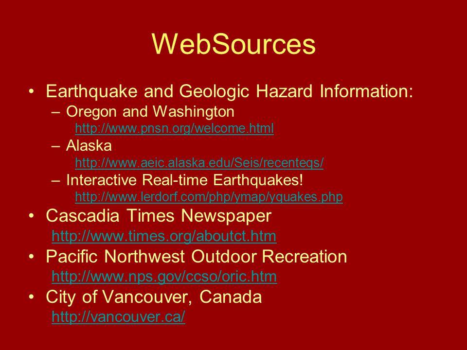 WebSources Earthquake and Geologic Hazard Information: –Oregon and Washington http://www.pnsn.org/welcome.html –Alaska http://www.aeic.alaska.edu/Seis