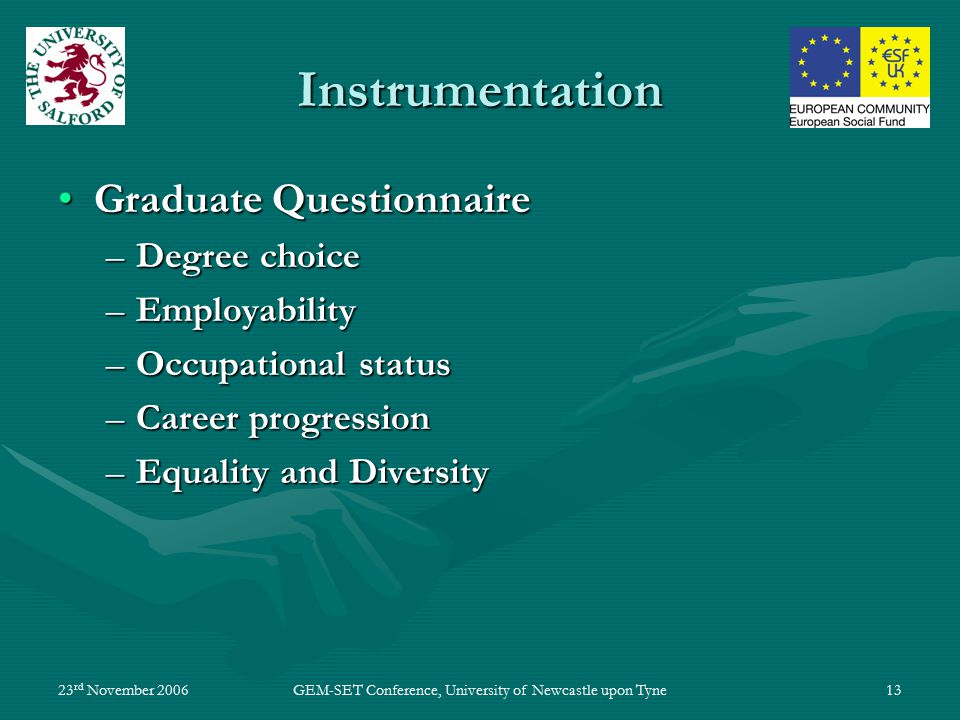 23 rd November 2006GEM-SET Conference, University of Newcastle upon Tyne13 Instrumentation Graduate QuestionnaireGraduate Questionnaire –Degree choice –Employability –Occupational status –Career progression –Equality and Diversity