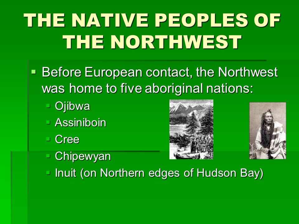 THE NATIVE PEOPLES OF THE NORTHWEST  Before European contact, the Northwest was home to five aboriginal nations:  Ojibwa  Assiniboin  Cree  Chipe