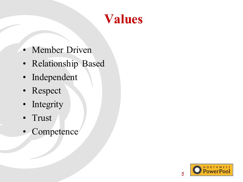 5 Values Member Driven Relationship Based Independent Respect Integrity Trust Competence