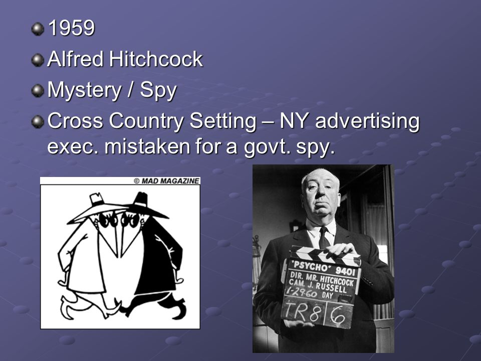 1959 Alfred Hitchcock Mystery / Spy Cross Country Setting – NY advertising exec.