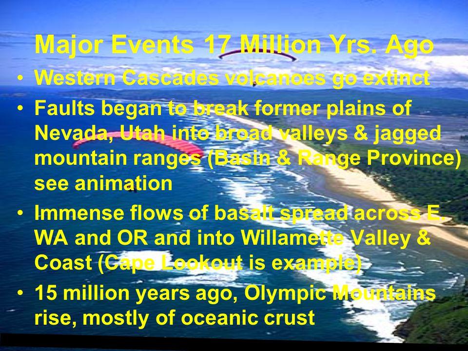 Major Events 17 Million Yrs. Ago Western Cascades volcanoes go extinct Faults began to break former plains of Nevada, Utah into broad valleys & jagged