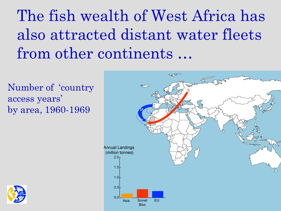 The fish wealth of West Africa has also attracted distant water fleets from other continents … Number of 'country access years' by area, 1960-1969