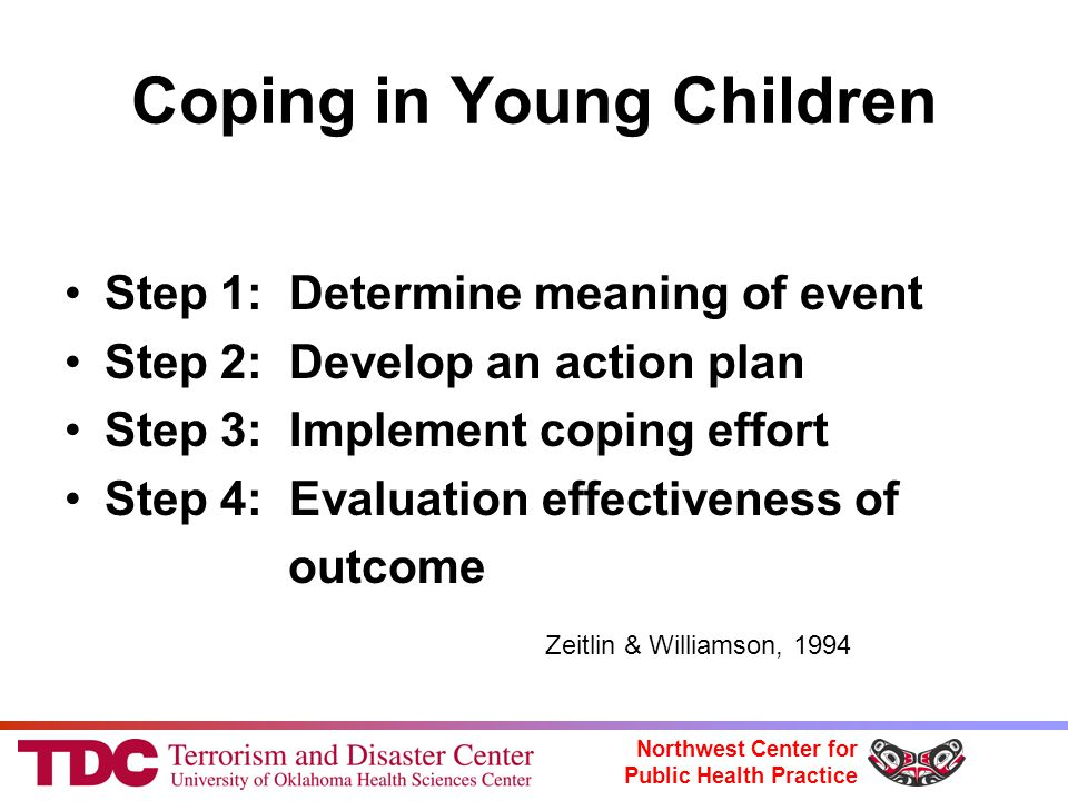 Northwest Center for Public Health Practice Coping in Young Children Step 1: Determine meaning of event Step 2: Develop an action plan Step 3: Implement coping effort Step 4: Evaluation effectiveness of outcome Zeitlin & Williamson, 1994