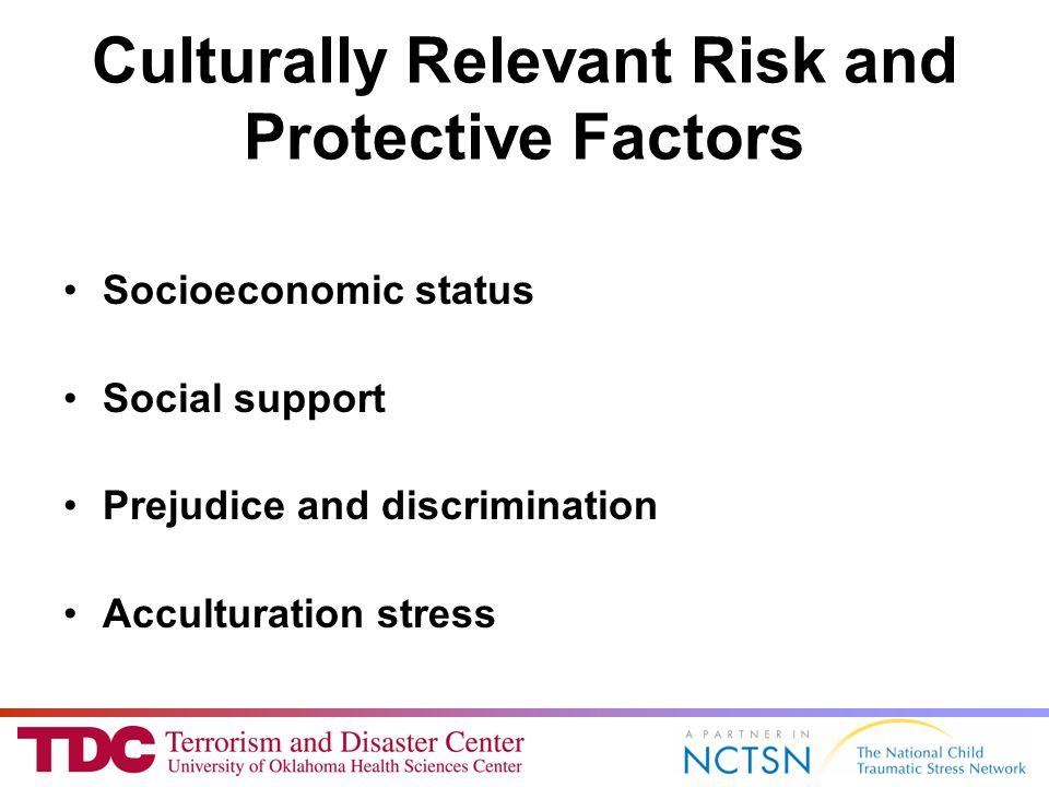 Culturally Relevant Risk and Protective Factors Socioeconomic status Social support Prejudice and discrimination Acculturation stress
