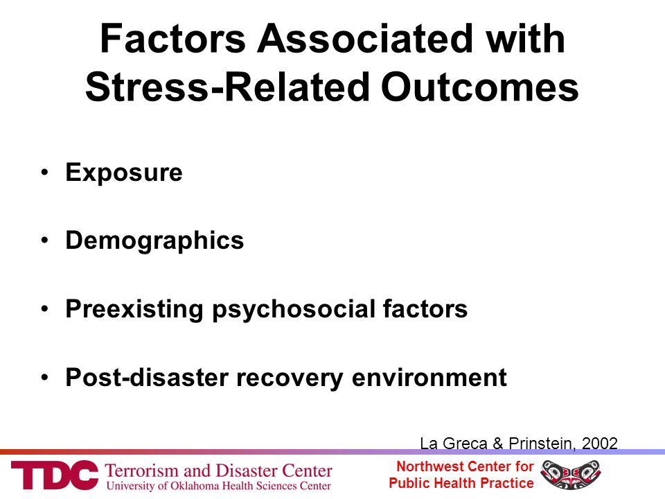 Northwest Center for Public Health Practice Factors Associated with Stress-Related Outcomes Exposure Demographics Preexisting psychosocial factors Post-disaster recovery environment La Greca & Prinstein, 2002