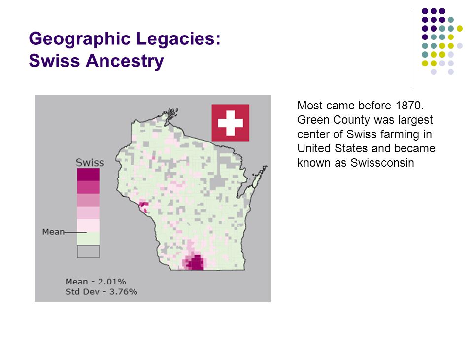 Geographic Legacies: Swiss Ancestry Most came before 1870.