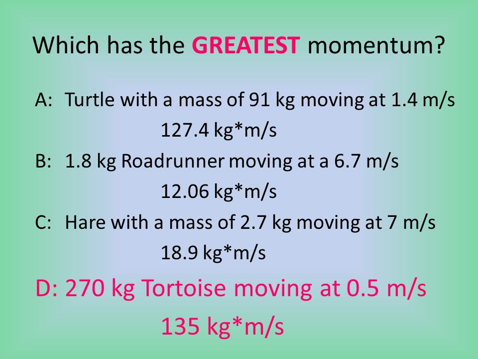 Which has the GREATEST momentum.