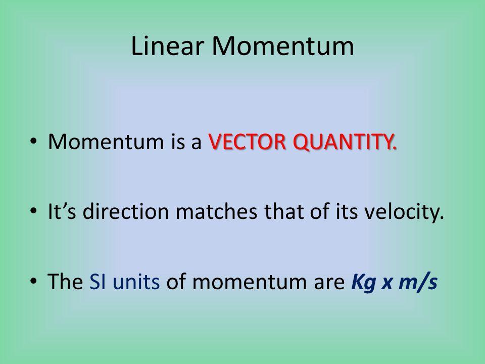 Linear Momentum VECTOR QUANTITY. Momentum is a VECTOR QUANTITY.