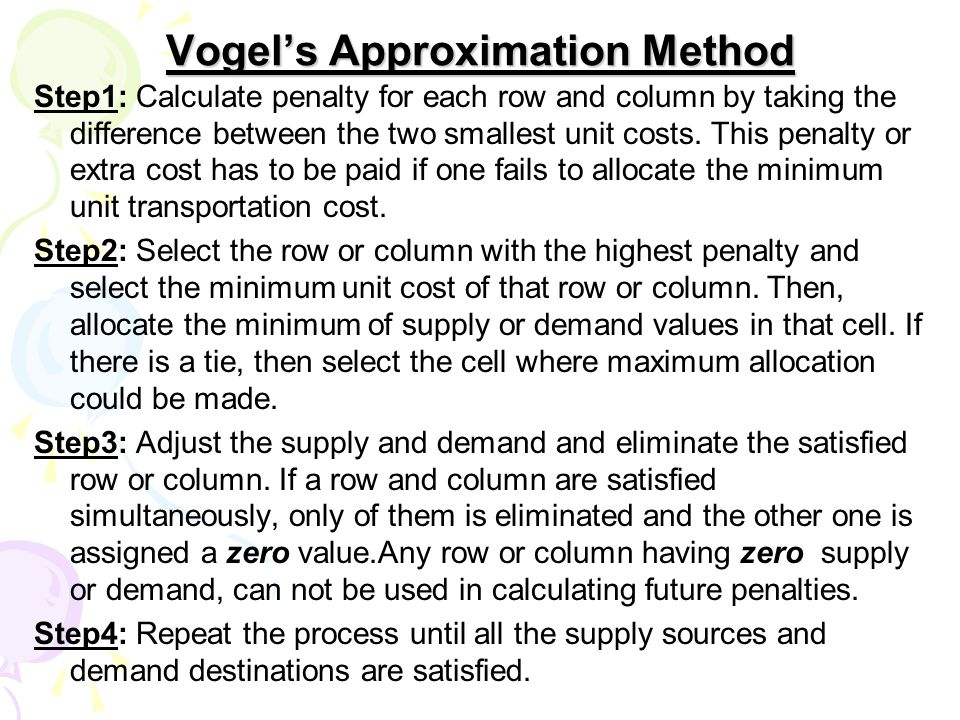 Vogel's Approximation Method Step1: Calculate penalty for each row and column by taking the difference between the two smallest unit costs.