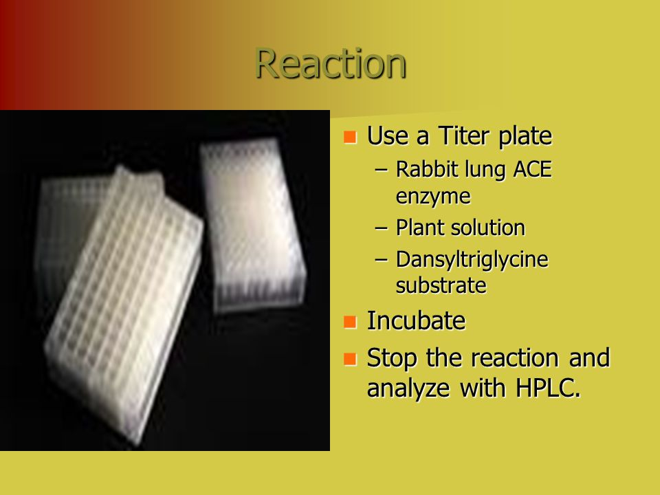 Reaction Use a Titer plate Use a Titer plate –Rabbit lung ACE enzyme –Plant solution –Dansyltriglycine substrate Incubate Incubate Stop the reaction and analyze with HPLC.