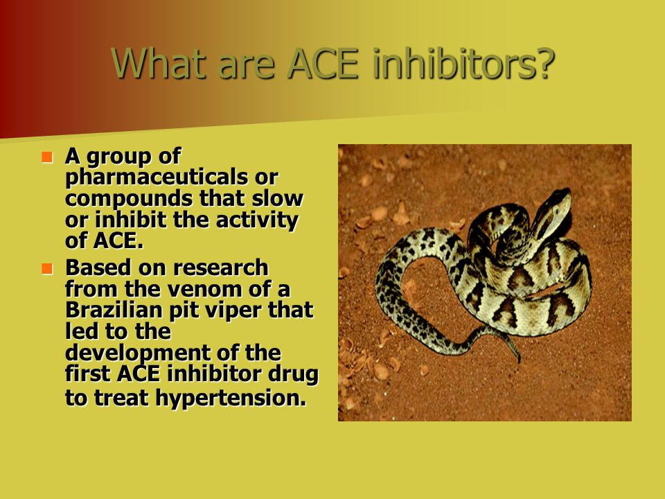 What are ACE inhibitors? A group of pharmaceuticals or compounds that slow or inhibit the activity of ACE. A group of pharmaceuticals or compounds tha