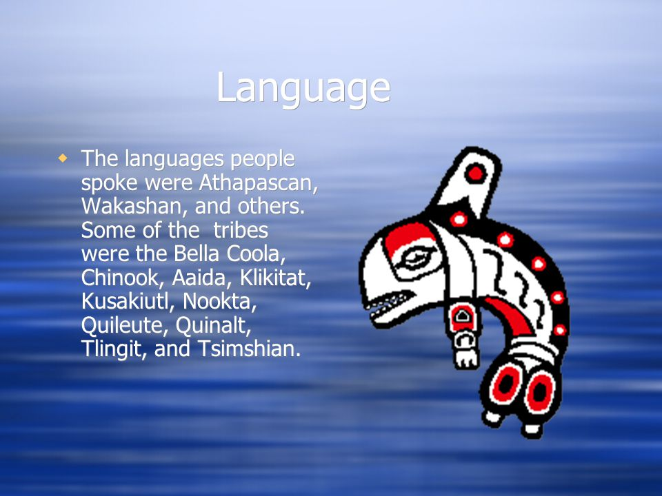 Language  The languages people spoke were Athapascan, Wakashan, and others.