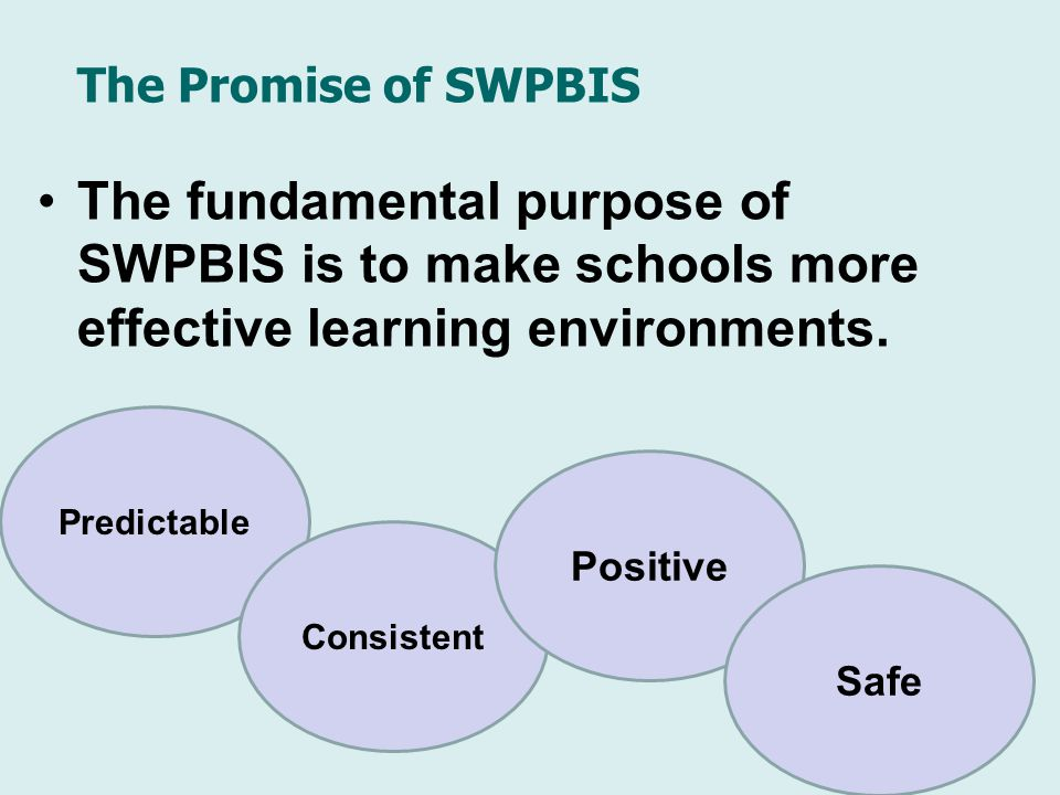 The Promise of SWPBIS The fundamental purpose of SWPBIS is to make schools more effective learning environments.