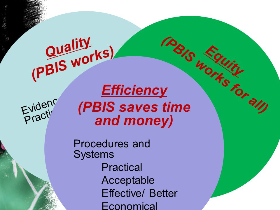 Quality (PBIS works) Evidence-based Practices Behavior Support Family Systems Social skills development Equity ( PBIS works for all ) All Students Race/ Ethnicity Disability Gender Sexual Preference Efficiency (PBIS saves time and money) Procedures and Systems Practical Acceptable Effective/ Better Economical