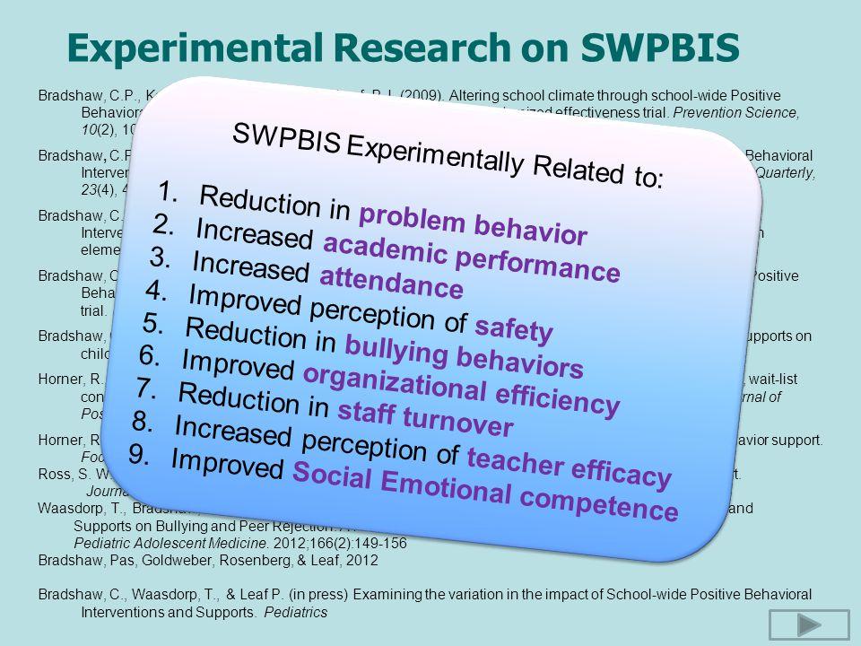 Experimental Research on SWPBIS Bradshaw, C.P., Koth, C.W., Thornton, L.A., & Leaf, P.J. (2009). Altering school climate through school-wide Positive