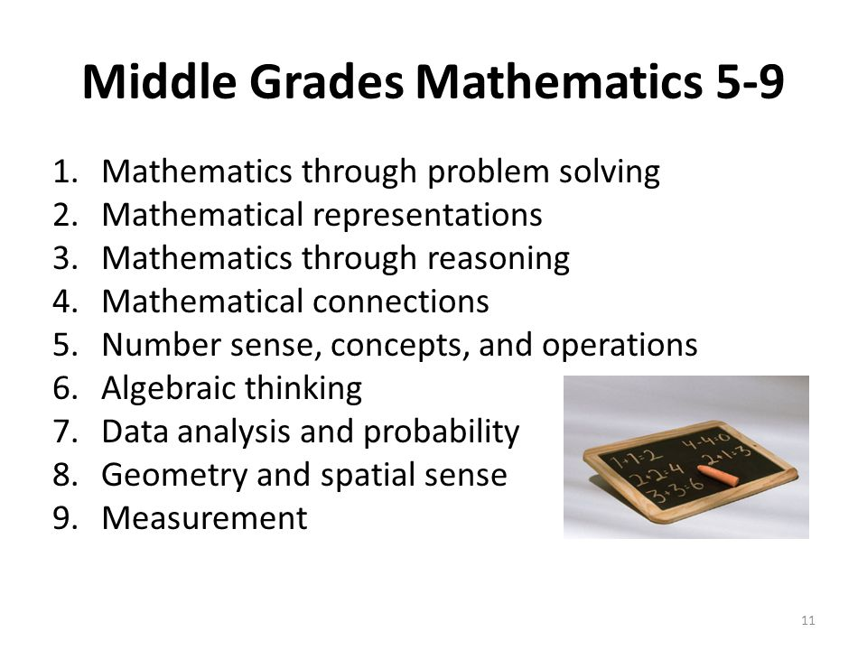 Middle Grades Mathematics 5-9 1.Mathematics through problem solving 2.Mathematical representations 3.Mathematics through reasoning 4.Mathematical connections 5.Number sense, concepts, and operations 6.Algebraic thinking 7.Data analysis and probability 8.Geometry and spatial sense 9.Measurement 11