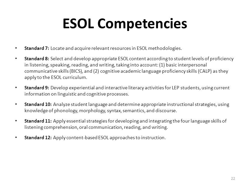 ESOL Competencies Standard 7: Locate and acquire relevant resources in ESOL methodologies.