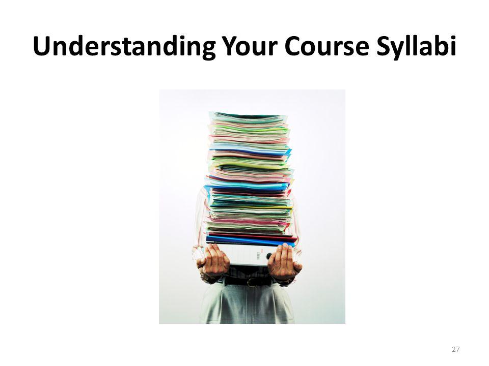 Understanding Your Course Syllabi 27