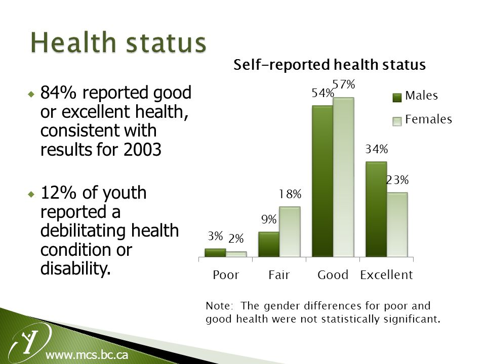  84% reported good or excellent health, consistent with results for 2003  12% of youth reported a debilitating health condition or disability.
