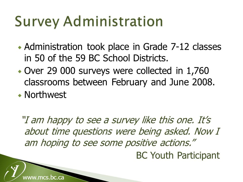  Administration took place in Grade 7-12 classes in 50 of the 59 BC School Districts.