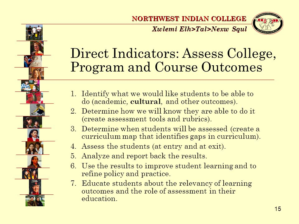 15 Xwlemi Elh>Tal>Nexw Squl NORTHWEST INDIAN COLLEGE 1.Identify what we would like students to be able to do (academic, cultural, and other outcomes).