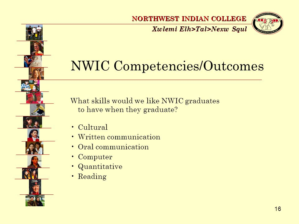 16 Xwlemi Elh>Tal>Nexw Squl NORTHWEST INDIAN COLLEGE What skills would we like NWIC graduates to have when they graduate.