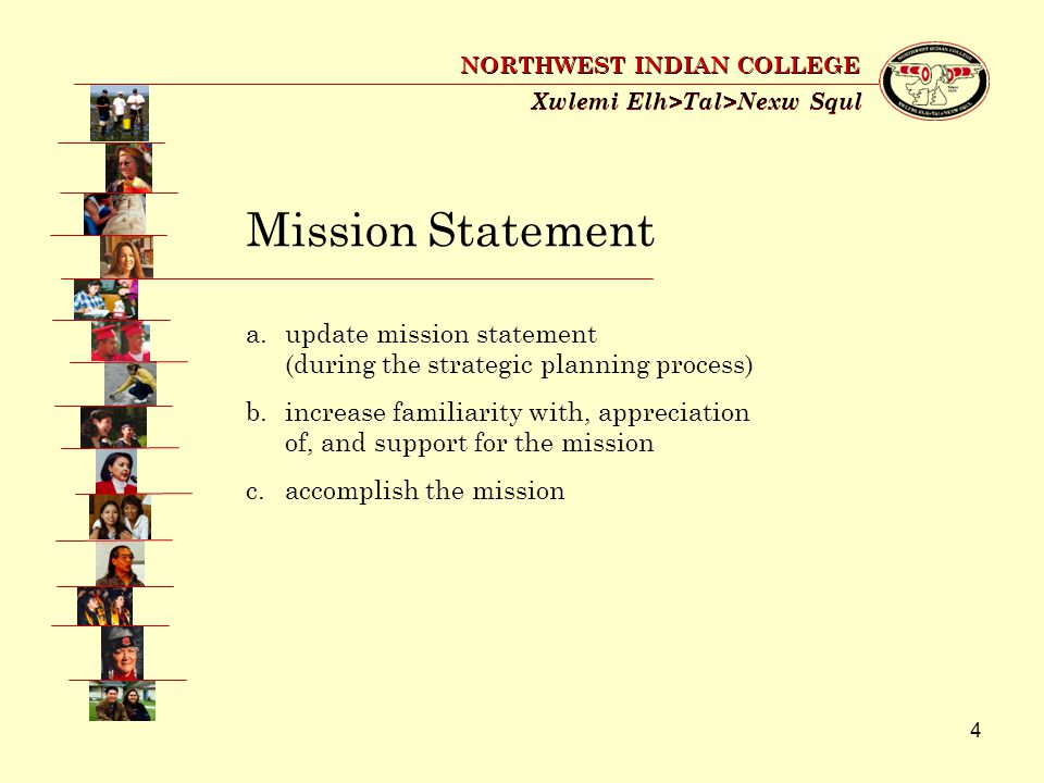 4 Xwlemi Elh>Tal>Nexw Squl NORTHWEST INDIAN COLLEGE Mission Statement a.update mission statement (during the strategic planning process) b.increase familiarity with, appreciation of, and support for the mission c.accomplish the mission
