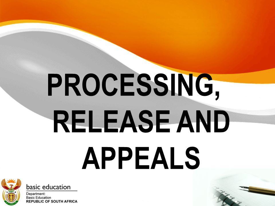 PROCESSING, RELEASE AND APPEALS