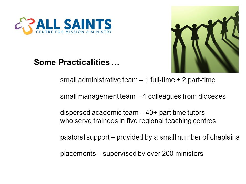 Some Practicalities … small administrative team – 1 full-time + 2 part-time small management team – 4 colleagues from dioceses dispersed academic team – 40+ part time tutors who serve trainees in five regional teaching centres pastoral support – provided by a small number of chaplains placements – supervised by over 200 ministers