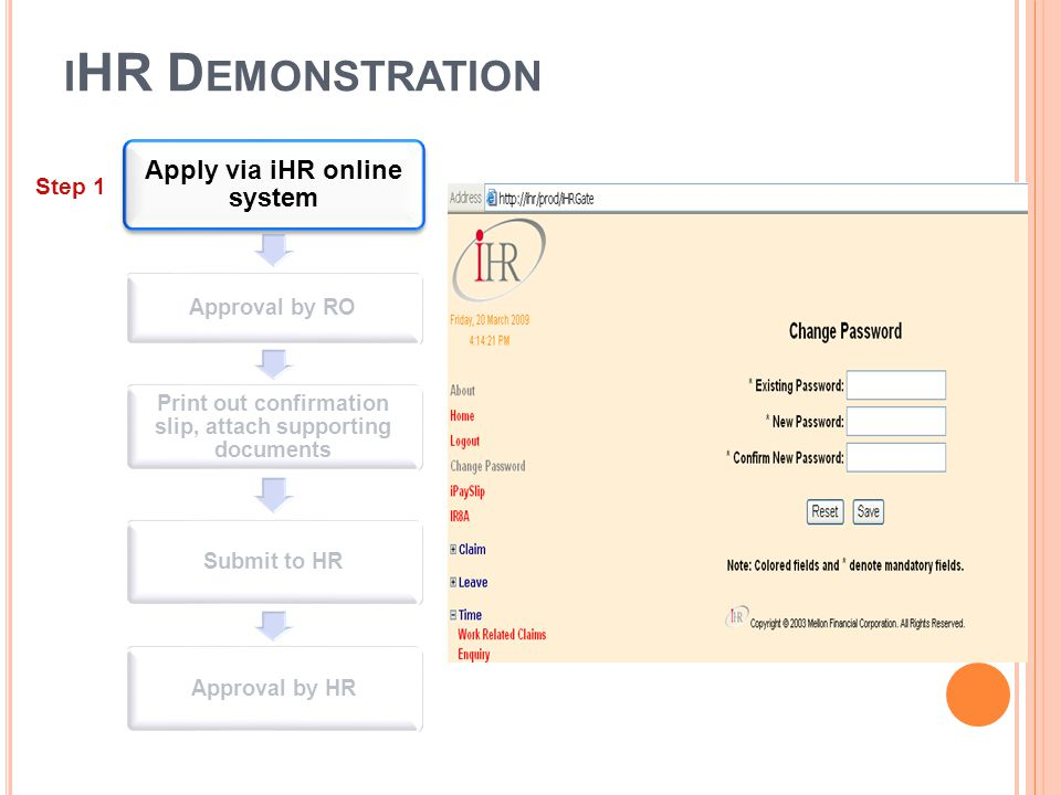 I HR D EMONSTRATION Apply via iHR online system Approval by RO Print out confirmation slip, attach supporting documents Submit to HRApproval by HR Ste
