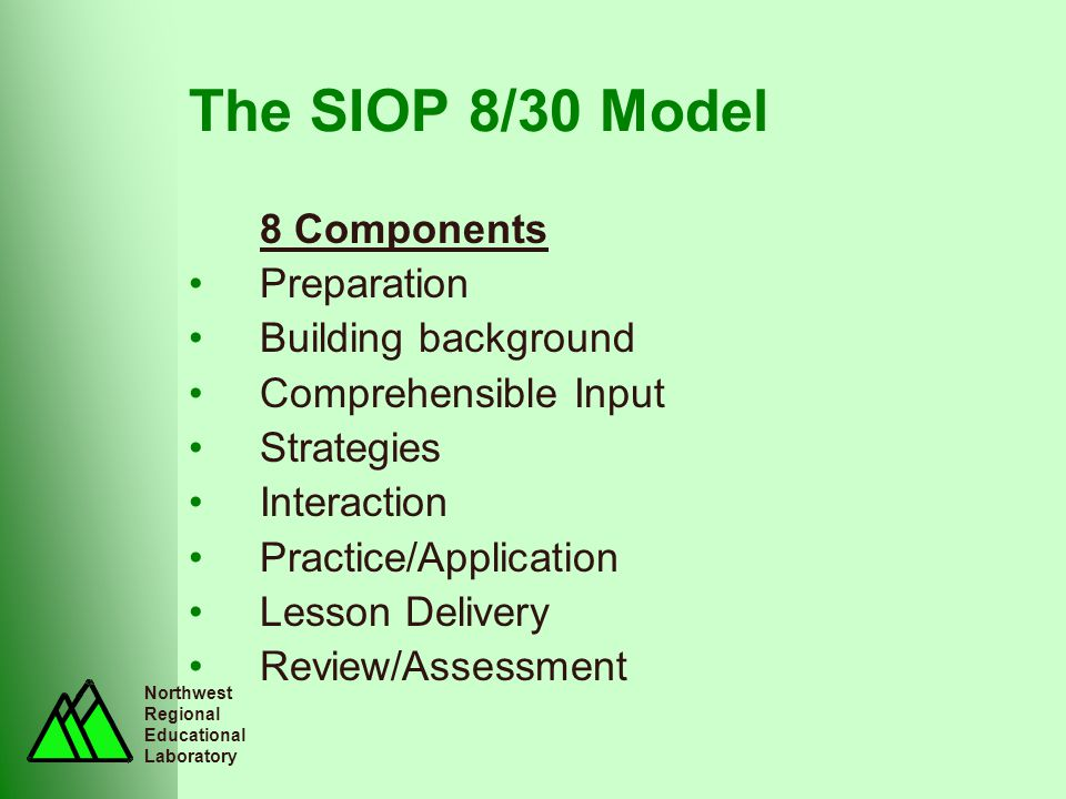 Northwest Regional Educational Laboratory The SIOP 8/30 Model 8 Components Preparation Building background Comprehensible Input Strategies Interaction