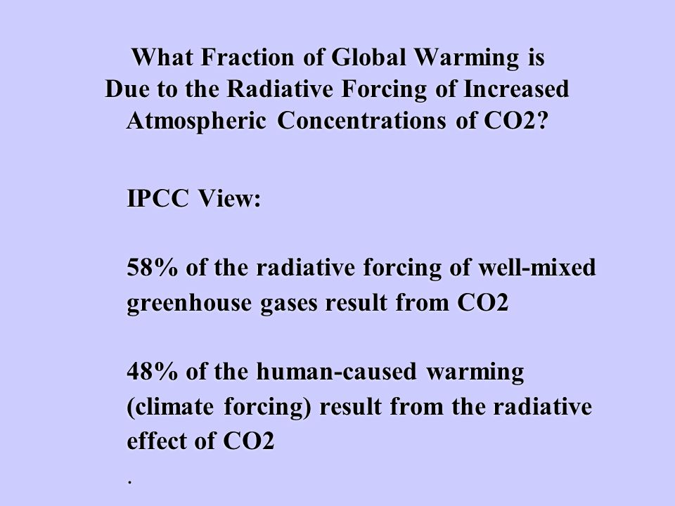 What Fraction of Global Warming is Due to the Radiative Forcing of Increased Atmospheric Concentrations of CO2.