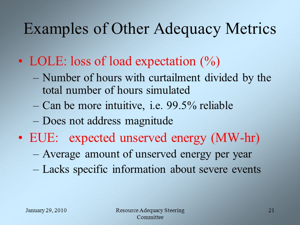 January 29, 2010Resource Adequacy Steering Committee 21 Examples of Other Adequacy Metrics LOLE: loss of load expectation (%) –Number of hours with curtailment divided by the total number of hours simulated –Can be more intuitive, i.e.