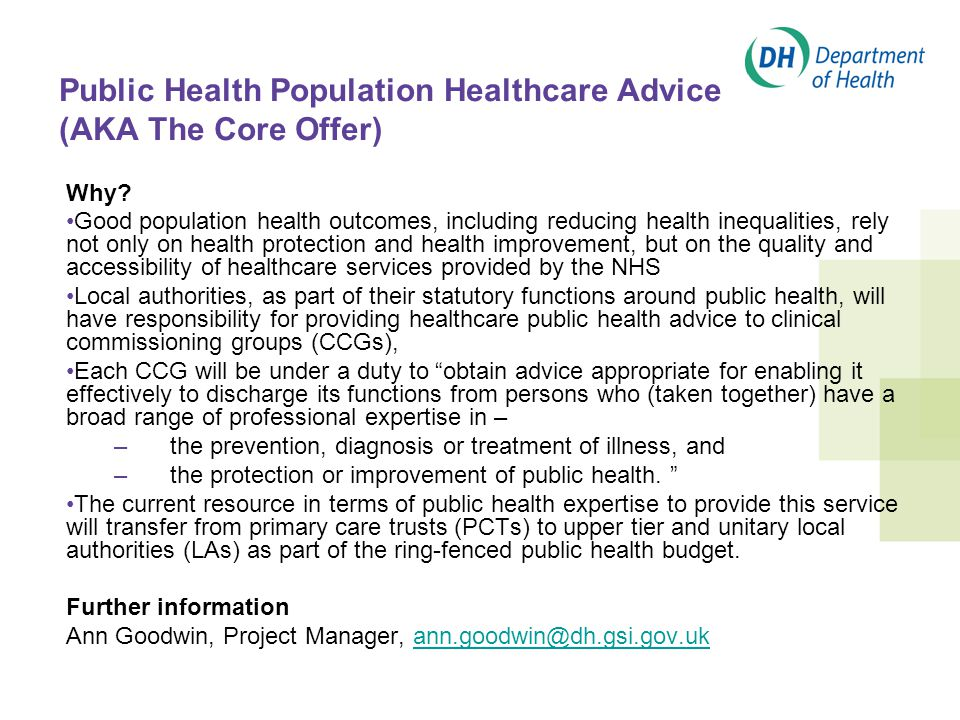 Public Health Population Healthcare Advice (AKA The Core Offer) Why.
