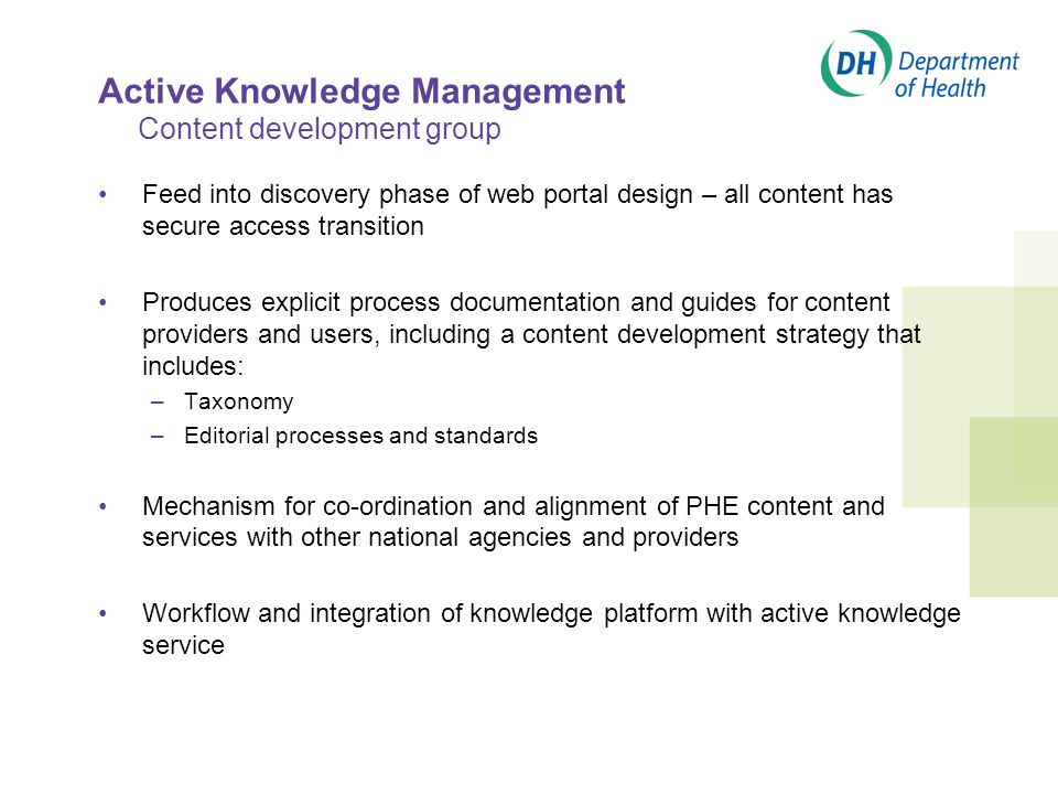 Active Knowledge Management Content development group Feed into discovery phase of web portal design – all content has secure access transition Produces explicit process documentation and guides for content providers and users, including a content development strategy that includes: –Taxonomy –Editorial processes and standards Mechanism for co-ordination and alignment of PHE content and services with other national agencies and providers Workflow and integration of knowledge platform with active knowledge service