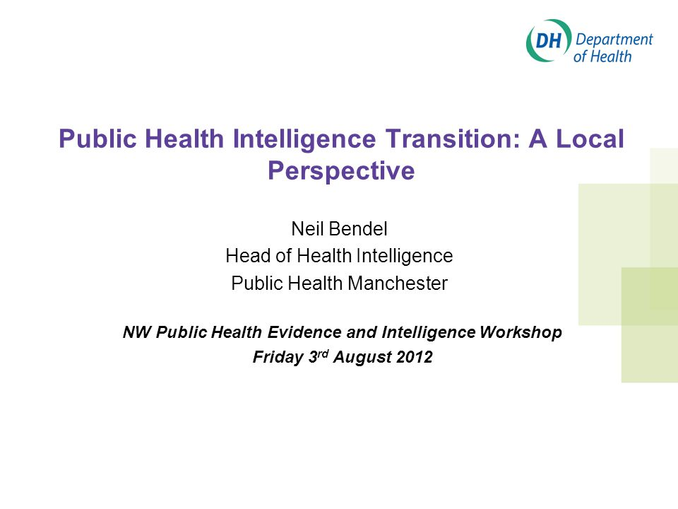 Public Health Intelligence Transition: A Local Perspective Neil Bendel Head of Health Intelligence Public Health Manchester NW Public Health Evidence and Intelligence Workshop Friday 3 rd August 2012