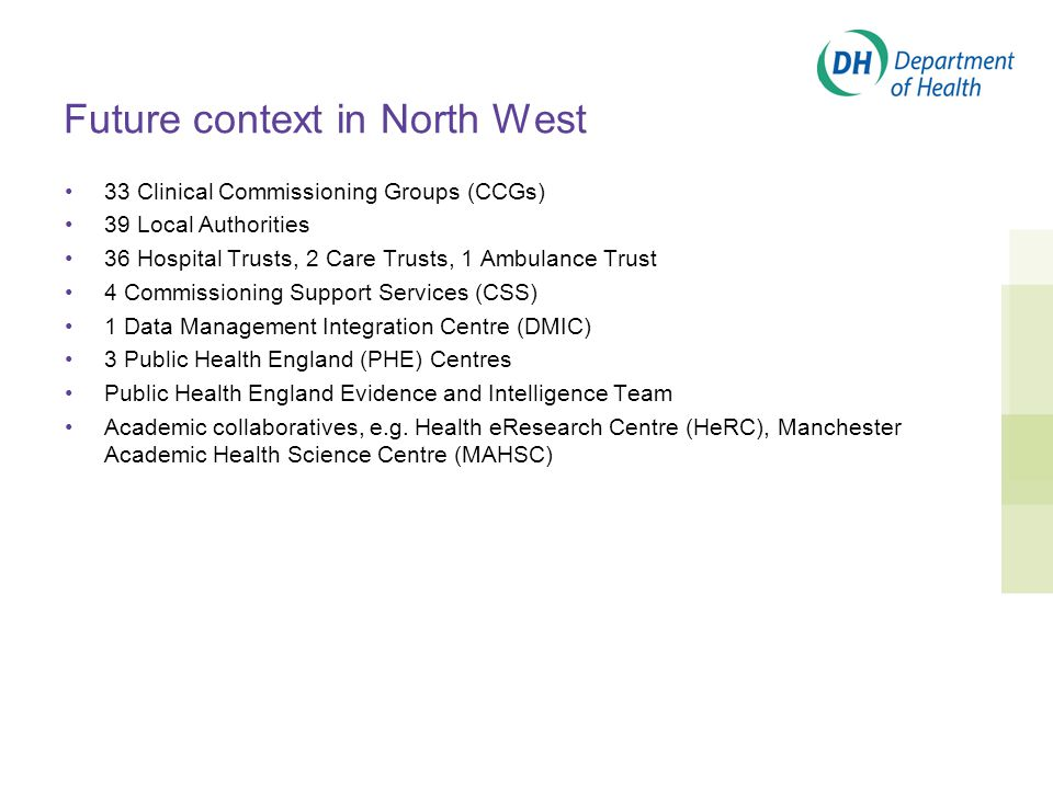 Future context in North West 33 Clinical Commissioning Groups (CCGs) 39 Local Authorities 36 Hospital Trusts, 2 Care Trusts, 1 Ambulance Trust 4 Commissioning Support Services (CSS) 1 Data Management Integration Centre (DMIC) 3 Public Health England (PHE) Centres Public Health England Evidence and Intelligence Team Academic collaboratives, e.g.