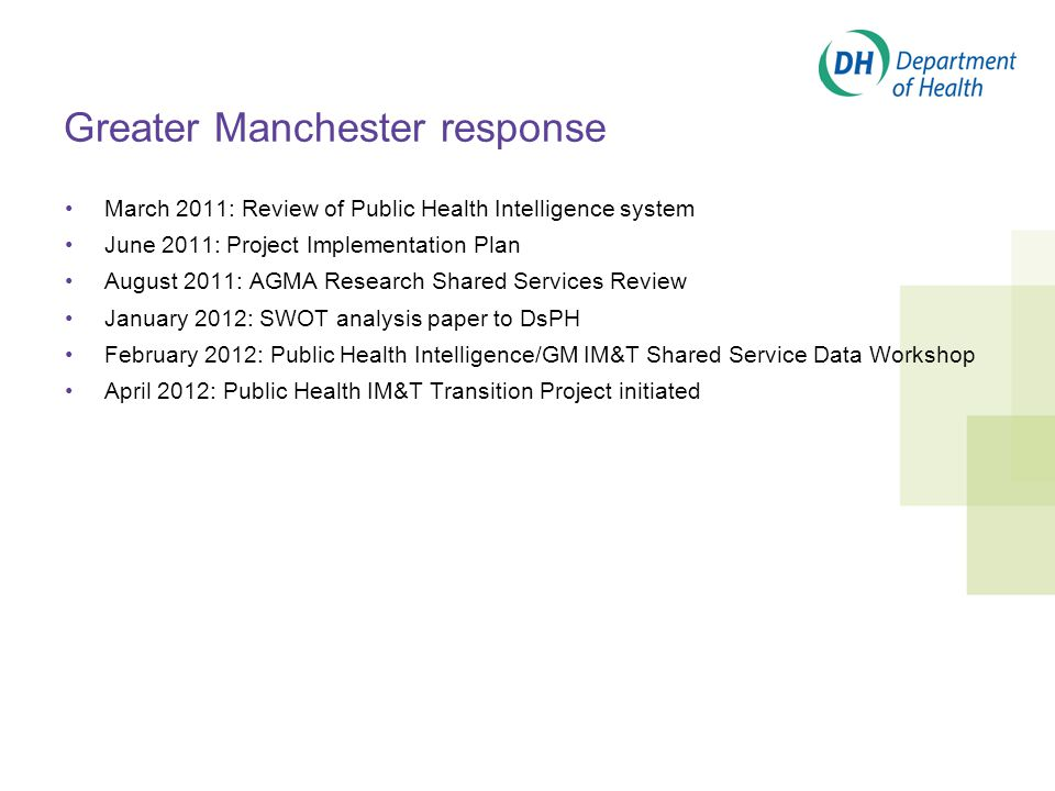 Greater Manchester response March 2011: Review of Public Health Intelligence system June 2011: Project Implementation Plan August 2011: AGMA Research Shared Services Review January 2012: SWOT analysis paper to DsPH February 2012: Public Health Intelligence/GM IM&T Shared Service Data Workshop April 2012: Public Health IM&T Transition Project initiated
