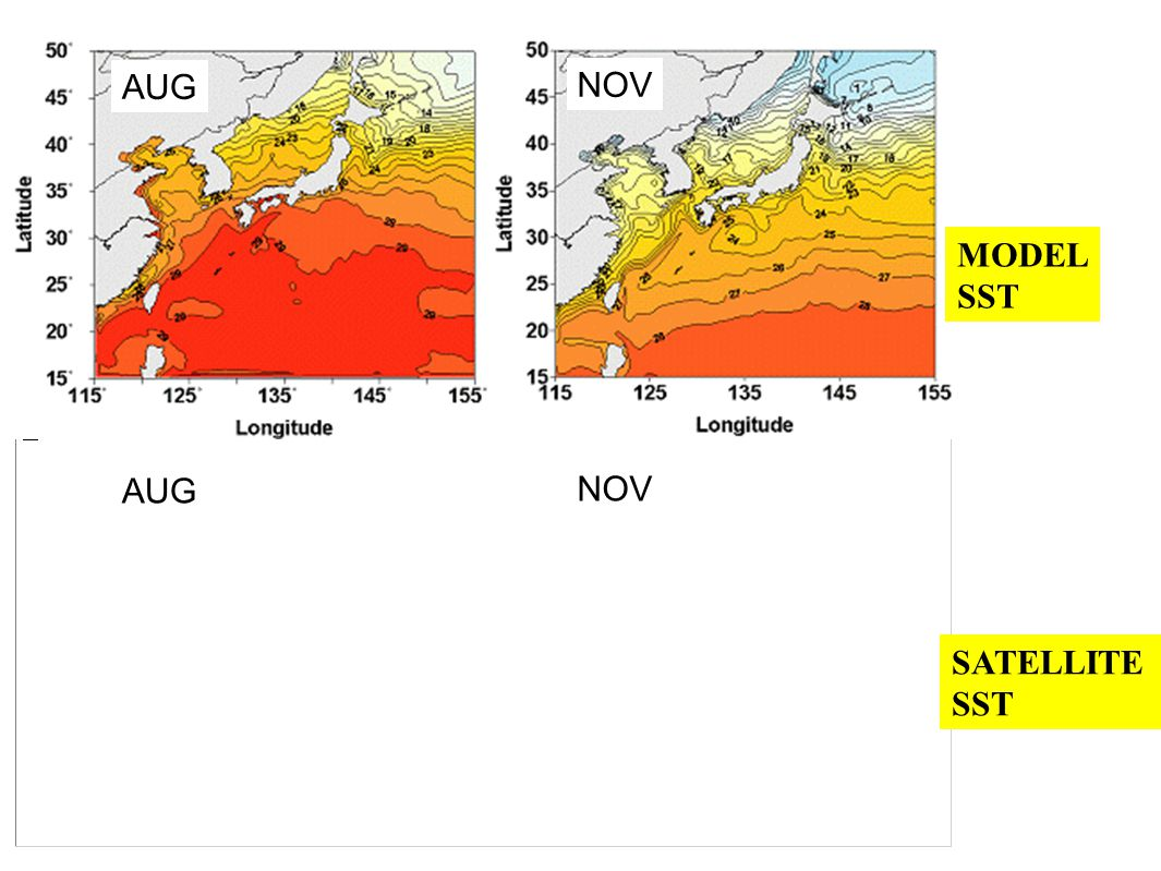 AUG NOV MODEL SST SATELLITE SST AUG NOV