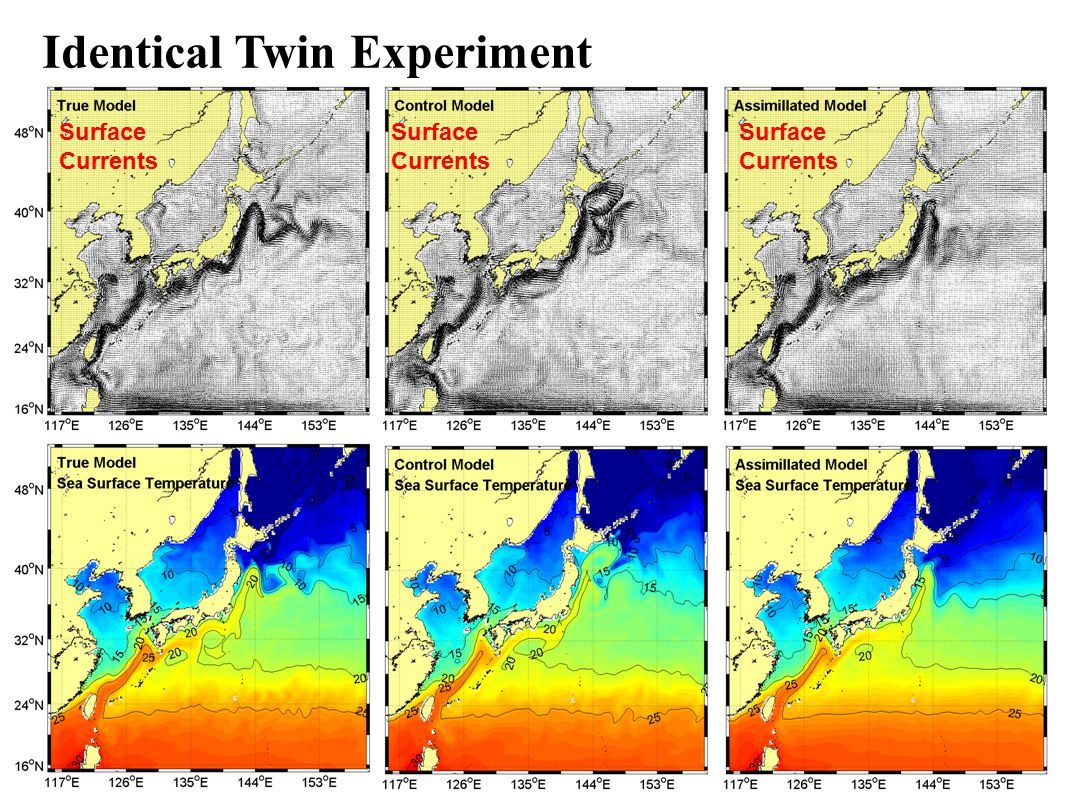 Identical Twin Experiment Surface Currents