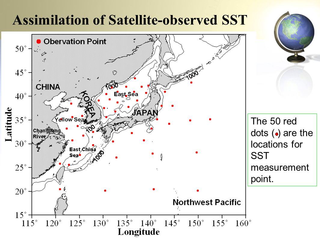The 50 red dots ( ) are the locations for SST measurement point.