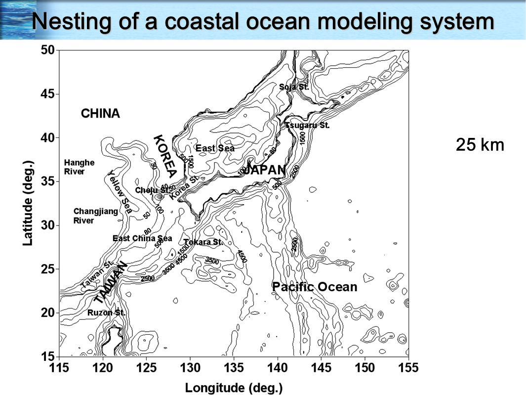 Nesting of a coastal ocean modeling system 25 km