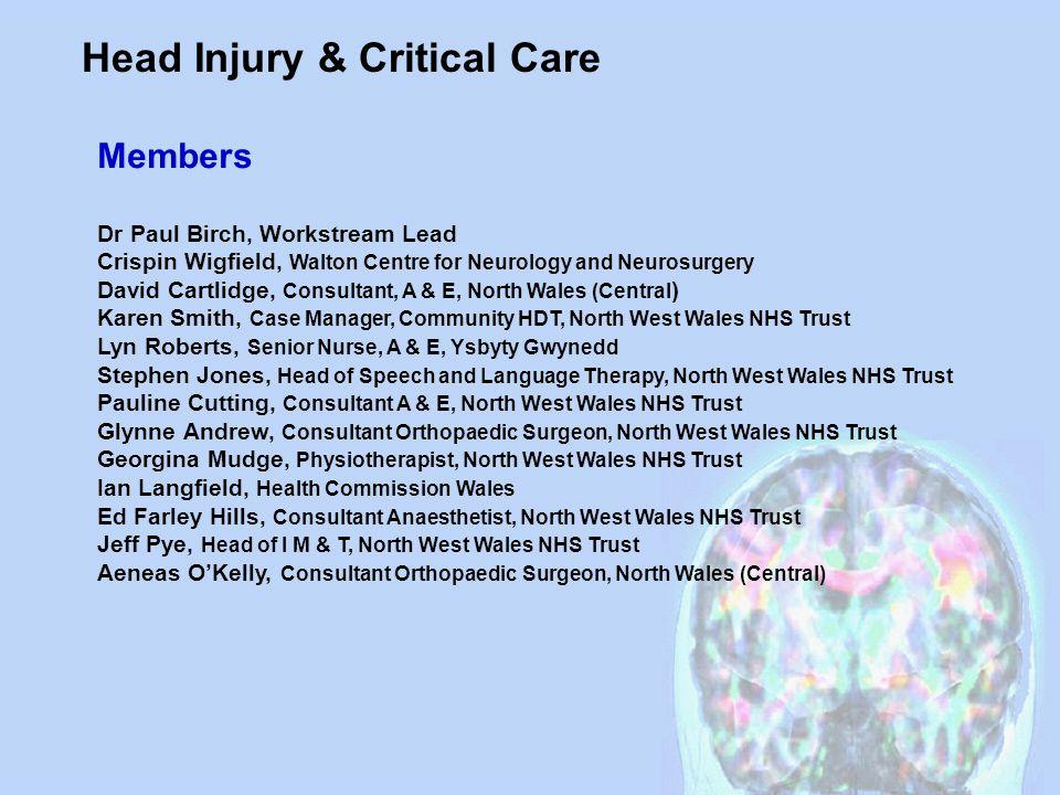 Head Injury & Critical Care Members Dr Paul Birch, Workstream Lead Crispin Wigfield, Walton Centre for Neurology and Neurosurgery David Cartlidge, Con