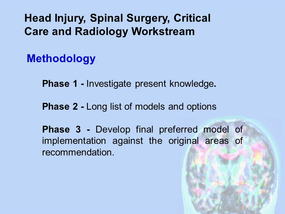 Head Injury, Spinal Surgery, Critical Care and Radiology Workstream The Radiology Group identified that they did not need to meet again until the final cycle.